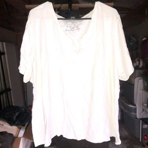 Plain V-neck white T-shirt